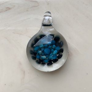 Handmade Jewelry - Glass pendant with blue and green accents